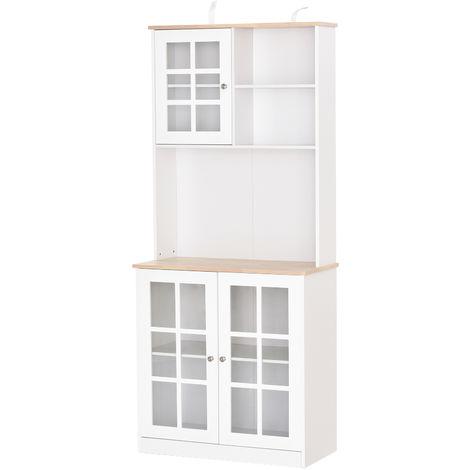 """main image of """"Armoire de cuisine multi-rangements 3 portes vitrine verre avec étagère 2 niches grand plateau MDF blanc chêne"""""""