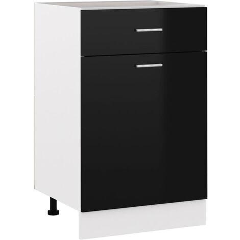 Armoire de cuisine Noir brillant 50x46x81,5 cm Agglomere