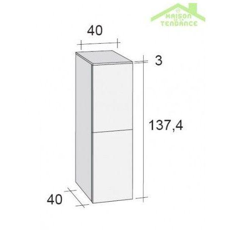 Armoire de douche à 2 portes RIHO BOLOGNA 40x40 H 137,4 cm - Bois laqué satiné - Bois laqué satiné