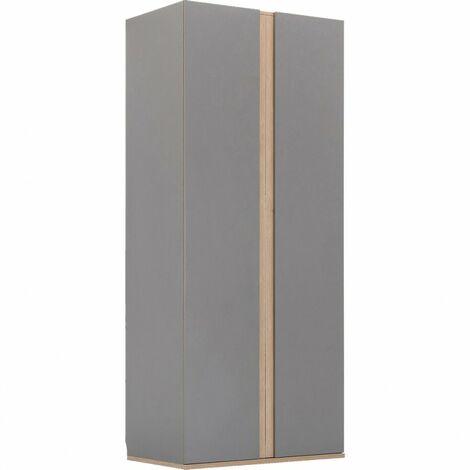 Armoire de dressing 2 portes battantes effet chêne gris - STOR 7098 - Gris