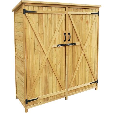 Armoire de jardin 2 portes 1350x500x1540 mm Bois d�pic�a Toit goudron Armoire outils Remise Jardin
