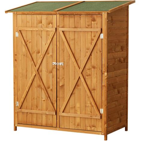 Armoire de jardin abri de jardin remise pour outils 140L x 75l x 160H cm 2 portes verrou 2 étagères toit bitumé étanche bois sapin pré-huilé