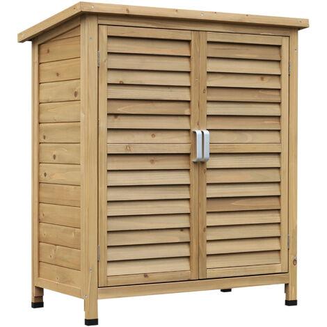 Armoire de jardin abri jardin remise pour outils sur pied dim. 87L x 46l x 96H cm étagère portes persiennes toit bitumé bois pin autoclave vert