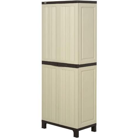 Armoire de jardin armoire haute multi-rangements 2 portes 3 ...