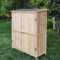 Armoire de jardin en bois naturel 2 portes 138x55x155cm armoire à outils