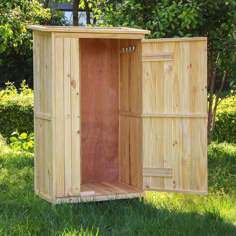 Armoire De Jardin Porte Simple Bois Rangement Pour Outils Remise Abri Cabane Jardinage Equipement 60823