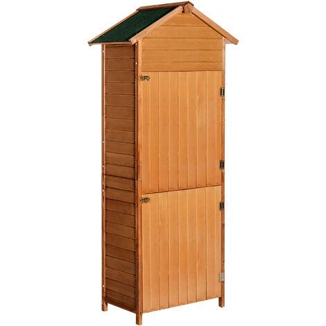 Armoire de jardin remise pour outils 79L x 49l x 190H cm 2 portes 2 étagères toit bitumé étanche bois sapin pré-huilé