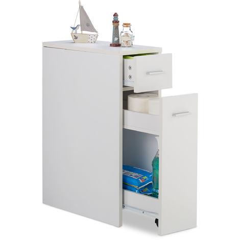 Armoire de niche, 2 tiroirs, pour le bain, cuisine, salon, petit meuble peu encombrant,HlP 61,5x 20x 45cm