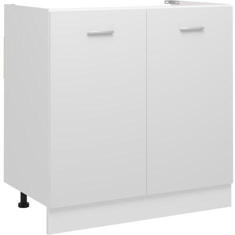 Armoire de plancher d'évier Blanc 80x46x81,5 cm Aggloméré