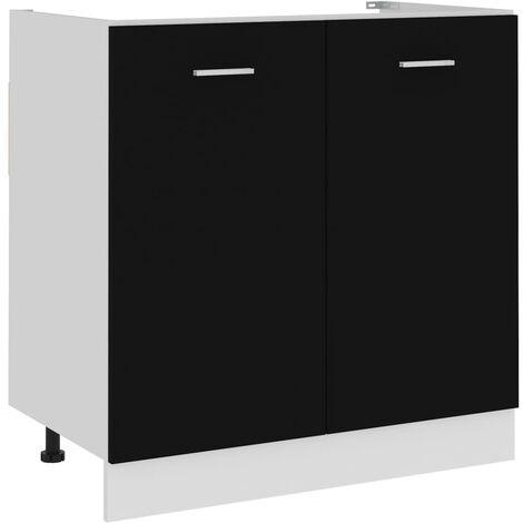 Armoire de plancher d'évier Noir 80x46x81,5 cm Aggloméré