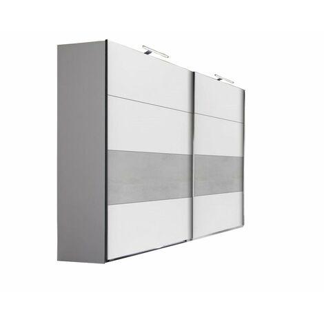Armoire de rangement 2 portes coulissantes ANGELA 225 cm blanc / gris clair - bi color