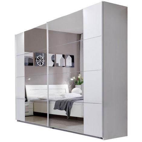 Armoire de rangement, coloris blanc - Dim : 225 X 210 X 65 cm -PEGANE-