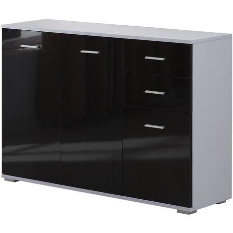 Armoire de rangement commode chambre/salon 2 tiroirs coulissants + 3 placards 106L x 35l x 76H cm MDF noir blanc