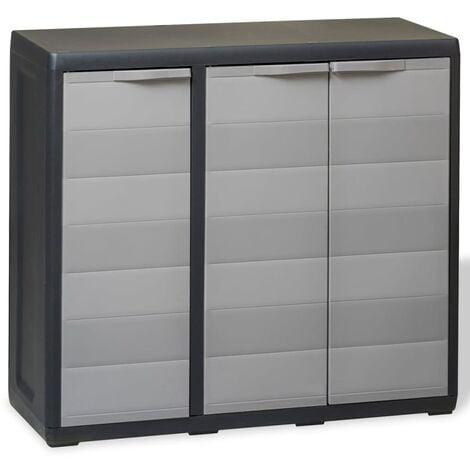 Armoire de rangement de jardin avec 2 étagères Noir et gris