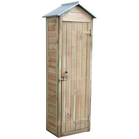 Armoire De Rangement De Jardin En Bois Traite 180x60x43cm Panama Cmj340295