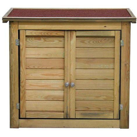 Armoire de rangement de jardin en bois traité 98x45x84cm, Lisboa