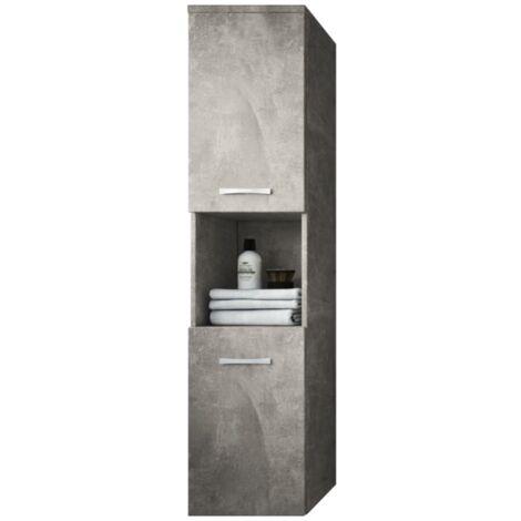 Armoire de rangement de Montreal Hauteur : 131 cm Beton - Meuble de rangement haut placard meuble de salle de bain