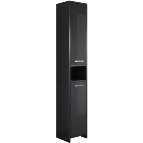 Armoire de rangement de Nemo Hauteur: 167 cm Noir brillant -Meuble de rangement haut placard armoire colonne