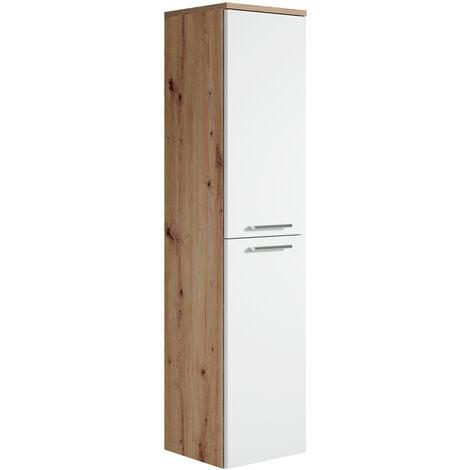 """main image of """"Armoire de rangement de Saturnus Hauteur : 130 cm Artisan Chene, blanc - Meuble de rangement haut placard armoire colonne - Chene Artisan, blanc"""""""