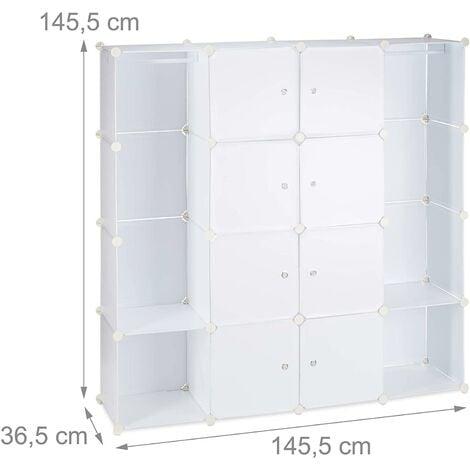 Armoire de rangement en plastique meuble penderie étagère avec portes et tringle 145 cm blanc - Blanc