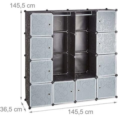 """main image of """"Armoire de rangement en plastique meuble penderie étagère avec portes et tringle 145 cm noir - Noir"""""""