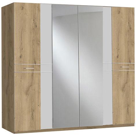 Armoire de rangement imitation chêne poutre/blanc/chrome - Dim : 225 x 210 x 58 cm - PEGANE -