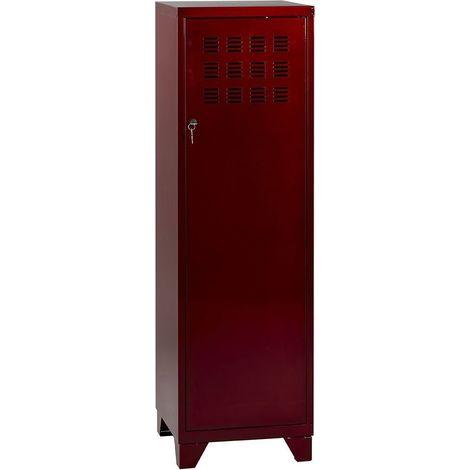Armoire de rangement métal 1 porte Vernis rouge