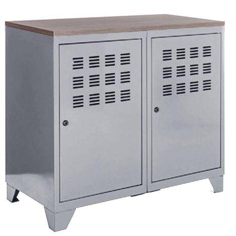 """main image of """"Armoire de rangement métal 2 portes blanc - Blanc"""""""