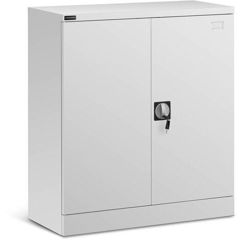 Armoire De Rangement Métallique Meuble Bureau Verrouillable 2 Portes Acier 102cm