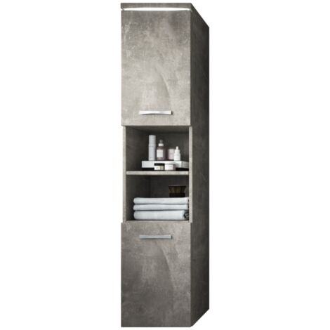 Armoire de rangement Paso Hauteur : 160 cm Beton (gris) - Meuble de rangement haut placard armoire colonne