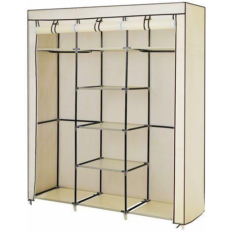 Armoire de Rangement Penderie 175 x 150 x 45 cm Noir/Gris/Beige