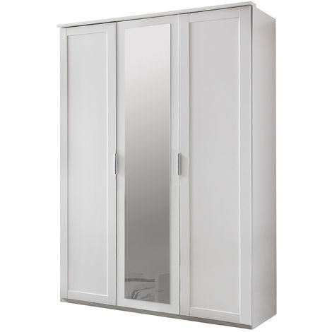 Armoire de rangement pour enfant en panneaux de particules blanc - Dim : 135 x 210 x 58 cm - PEGANE -