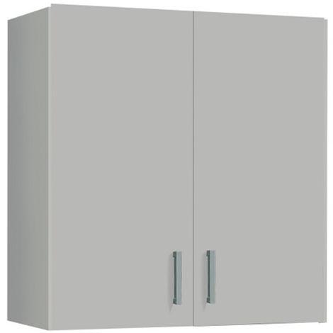 Armoire de rangement suspendue avec 2 portes coloris blanc - Dim : H60 x L59 x P26.5 cm -PEGANE-