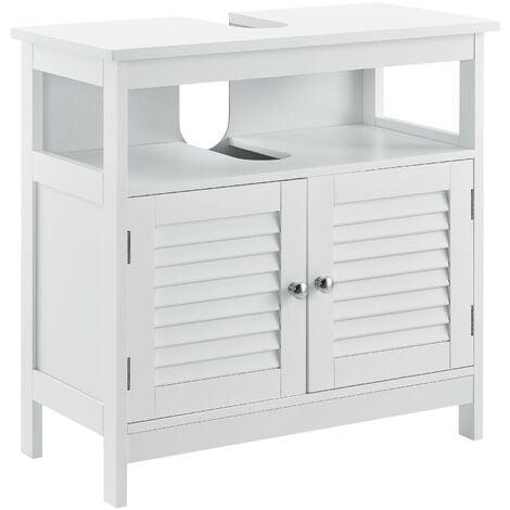 Armoire de salle de bain dessous de lavabo meuble dessous rangement 3 surfaces stockage 60 x 60 x 30 cm MDF laqué Blanc - Blanc