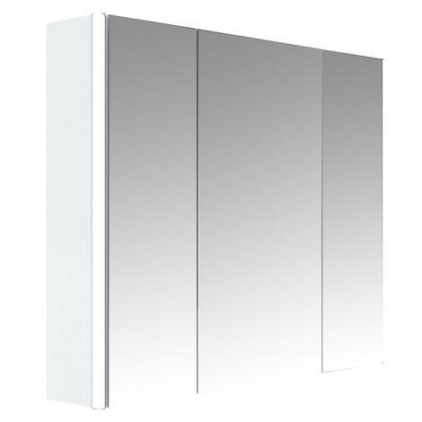 Armoire de salle de bain éclairante 80 cm 3 portes Stella