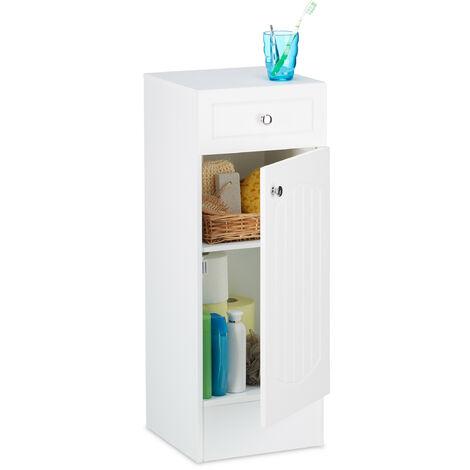 Armoire de salle de bain en bois blanc à poser meuble de rangement lamelles avec tiroir design HxlxP: 80 x 30,5 x 30,5 cm, blanc