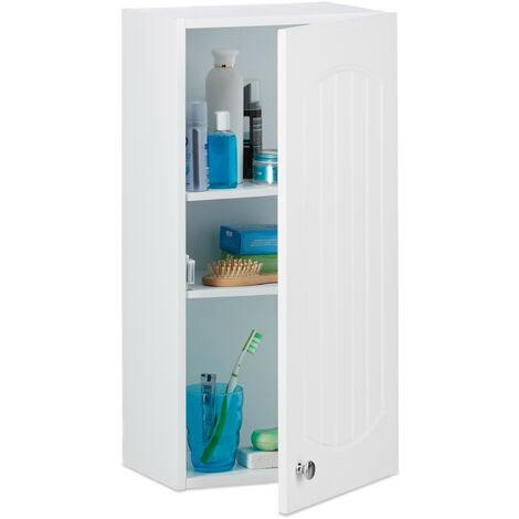 Armoire de salle de bain en bois blanc à suspendre 2 étages meuble de rangement mural lamelles MDF HxlxP: 60 x 30 x 20,5 cm, blanc