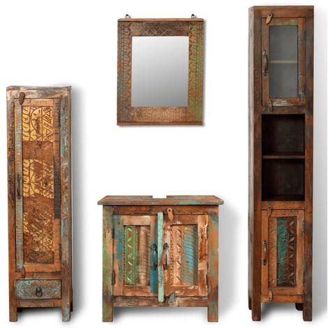 Armoire de salle de bain et miroir et 2 armoires latérales Bois