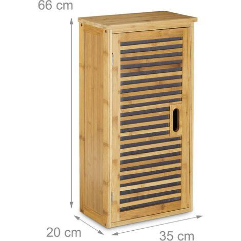 armoire de salle de bain tag re en bois de bambou 66 x 35. Black Bedroom Furniture Sets. Home Design Ideas