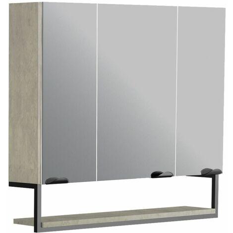 Armoire de salle de bain FAKTORY 3 portes miroir 80 cm avec étagère suspendue béton minéral - Béton minéral