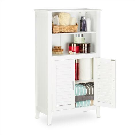 Armoire de salle de bain sur pied LAMELL en bambou blanc meuble de rangement cuisine HxlxP: 92 x 50 x 25,5 cm
