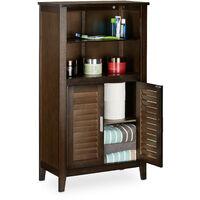 Armoire de salle de bain sur pied LAMELL en bambou marron foncé meuble de rangement cuisine HxlxP: 92 x 50 x 25,5 cm