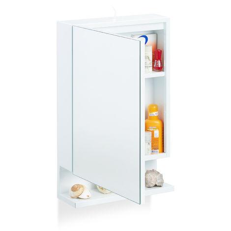 Armoire de Toilette 1 Porte Miroir 3Tablettes Prise Courant Meuble Mural Placard SDB, 55x35x12 cm, Blanc