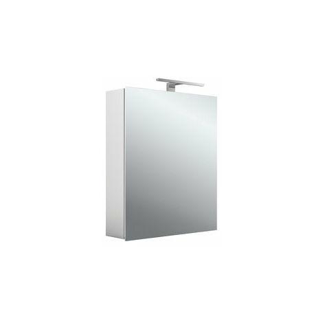 Armoire de toilette à LED Emco asis mee, aluminium, 1 porte, modèle apparent, luminaire LED, 600 mm - 949805049