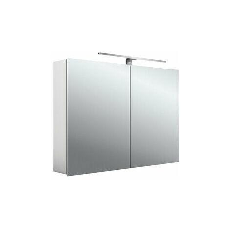 Armoire de toilette à LED Emco asis mee, aluminium, 2 portes, modèle apparent, luminaire LED, 1000 mm - 949805052