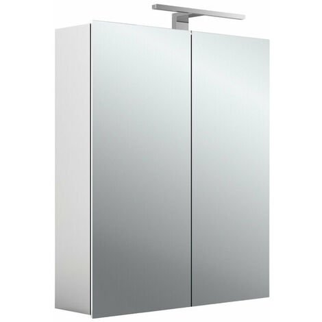 Armoire de toilette à LED Emco asis mee, aluminium, 2 portes, modèle apparent, luminaire LED, 600 mm - 949805050