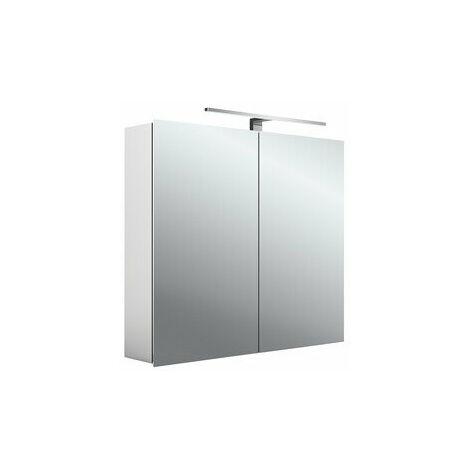 Armoire de toilette à LED Emco asis mee, aluminium, 2 portes, modèle apparent, luminaire LED, 800 mm - 949805051