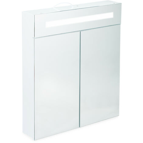 Armoire de toilette à LED, Meuble salle de bains, 2 portes, Placard mural miroir, HLP 67 x 60 x 12 cm, blanc