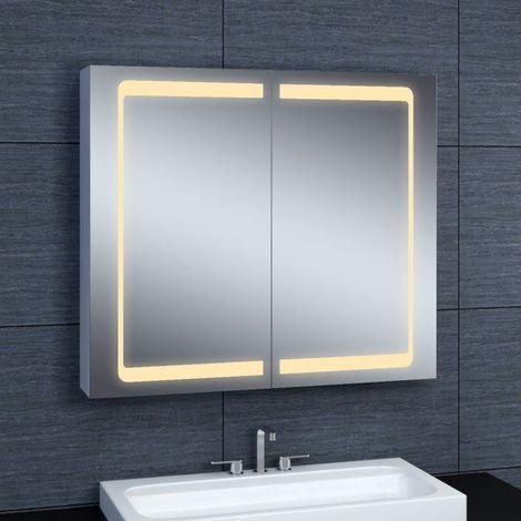 Armoire De Toilette Aluminium Modele 80 70 Cm X 80 Cm Hxl Gris 3283427300893