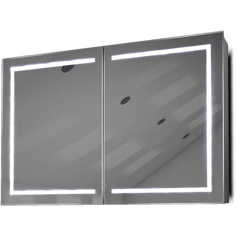 Armoire De Toilette Anti-Buée Avec Capteur Et Prise Rasoir Intérieure K374W - Couleur LED : Blanc